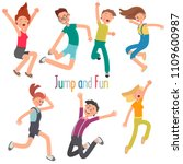 cheerful young people jumping... | Shutterstock .eps vector #1109600987