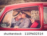 elderly couple with hat  with... | Shutterstock . vector #1109602514