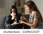 sick woman and her friend... | Shutterstock . vector #1109613137