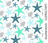starfish seamless vector...   Shutterstock .eps vector #1109617697