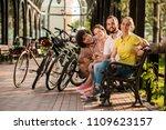 group of cute friends resting... | Shutterstock . vector #1109623157