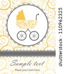 a cute new baby arrival card   Shutterstock .eps vector #110962325