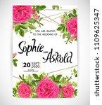 wedding floral template invite  ... | Shutterstock .eps vector #1109625347