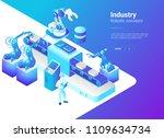 isometric flat robotics factory ... | Shutterstock .eps vector #1109634734
