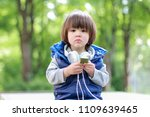 cute boy with headphones and... | Shutterstock . vector #1109639465