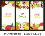 set of summer cards with fruits ... | Shutterstock . vector #1109643191