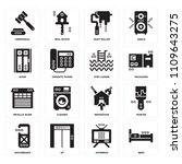 set of 16 icons such as beds ...
