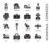set of 16 icons such as trucks  ...