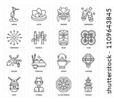 set of 16 icons such as pagoda  ...