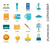 set of 16 icons such as clip ...