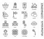 set of 16 icons such as fan  pa ...