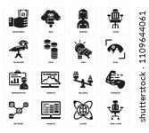 set of 16 icons such as desk...   Shutterstock .eps vector #1109644061
