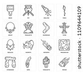 set of 16 icons such as meteor  ...
