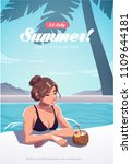 girl relaxing in the swimming... | Shutterstock .eps vector #1109644181