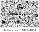 hand drawn space elements... | Shutterstock .eps vector #1109644364