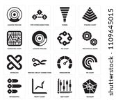 set of 16 icons such as hexagon ...