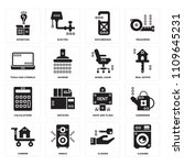 set of 16 icons such as cleaned ...