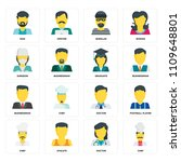 set of 16 icons such as chef ...