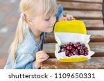 little cute caucasian blond...   Shutterstock . vector #1109650331
