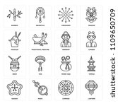 set of 16 icons such as lantern ... | Shutterstock .eps vector #1109650709