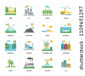 set of 16 icons such as city ...