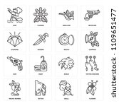 set of 16 icons such as flower  ... | Shutterstock .eps vector #1109651477
