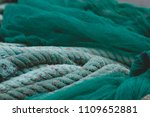 green fishing nets and ropes  | Shutterstock . vector #1109652881