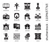 set of 16 icons such as bed...