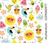 Stock vector seamless pattern of cute summer cartoon characters on white background 1109660477