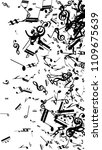 black musical notes on white...   Shutterstock .eps vector #1109675639