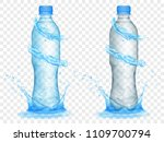 two translucent plastic bottles ... | Shutterstock .eps vector #1109700794