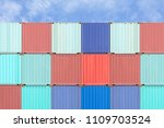 colorful stack of container... | Shutterstock . vector #1109703524