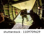 rangers parachuted from... | Shutterstock . vector #1109709629
