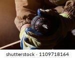 closeup photo of a carpenter...   Shutterstock . vector #1109718164