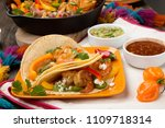 two shrimp fajitas with bell... | Shutterstock . vector #1109718314