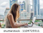 young woman is working on a... | Shutterstock . vector #1109725511