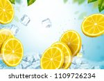 lemon with ice cubes refreshing ... | Shutterstock .eps vector #1109726234