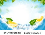 lemon with ice cubes refreshing ... | Shutterstock .eps vector #1109726237