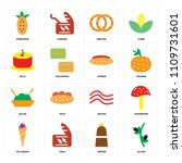 set of 16 icons such as olives  ...