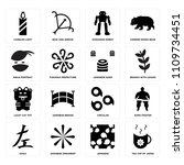 set of 16 icons such as tea cup ...