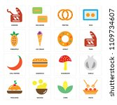 set of 16 icons such as pasta ... | Shutterstock .eps vector #1109734607