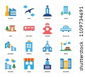 set of 16 icons such as... | Shutterstock .eps vector #1109734691