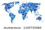 world map collage of randomized ... | Shutterstock .eps vector #1109735084
