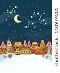 winter background  with houses | Shutterstock .eps vector #110974205