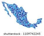 mexico map mosaic of randomized ... | Shutterstock .eps vector #1109742245