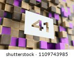white papercut number 41 on the ... | Shutterstock . vector #1109743985