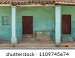 facade of a turquoise and green ... | Shutterstock . vector #1109745674