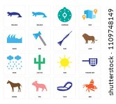 set of 16 icons such as bee ...