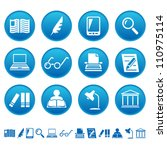 book writing and reading icons | Shutterstock .eps vector #110975114