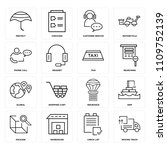 set of 16 icons such as moving...
